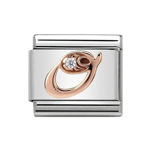 Nomination Rose Gold O Letter Charm Link  - 430310/15
