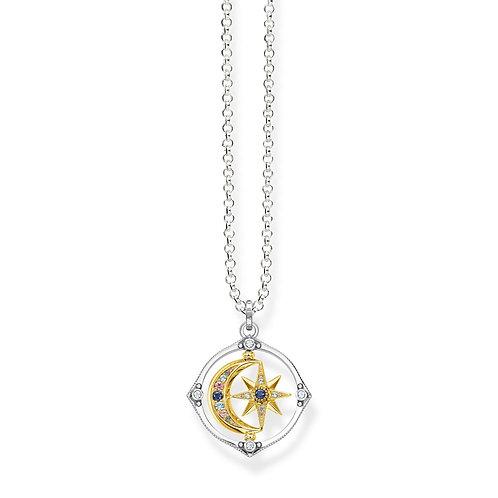 Thomas Sabo Two Tone Moon and Stars Spin Necklace - KE1985-643-14