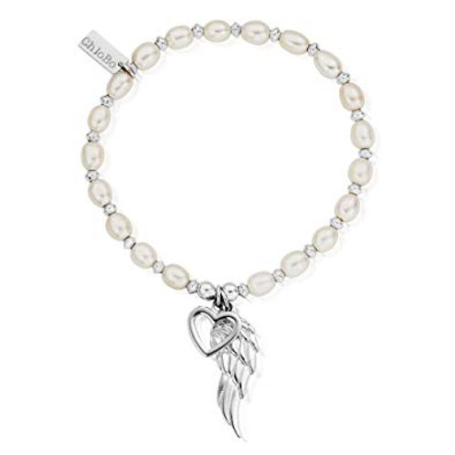 ChloBo Pearl Disc and Open Heart and Angel Wing Bracelet