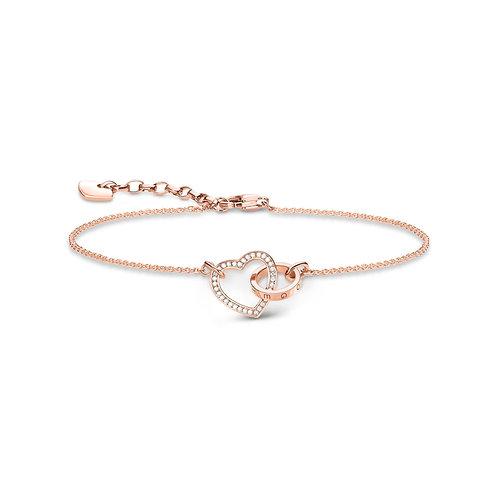 Thomas Sabo Silver rose gold Together Forever heart bracelet  - A1730-416-14