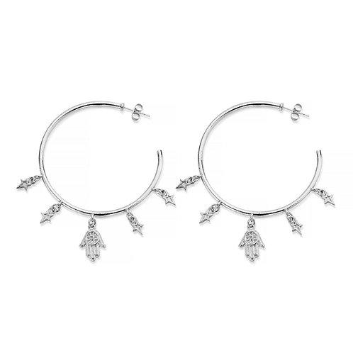 ChloBo Sterling Silver Five Days of Luck Hoop Earrings - SEH2033