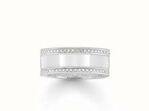 Thomas Sabo Silver White Ceramic and Zirconia Ring - TR1995-455-14-56