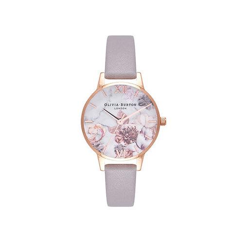 Olivia Burton Marble Floral Rose Leather Strap Watch - OB16CS14