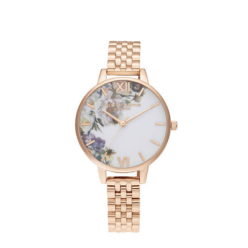 Olivia Burton Enchanted Garden Flower Demi Rose Gold Bracelet Watch - OB16EG135