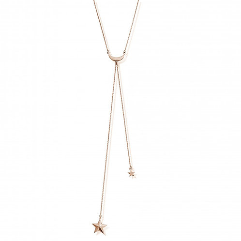 ChloBo Sterling Silver Rose Gold Plated Moon and Star Lariat Necklace - RN741