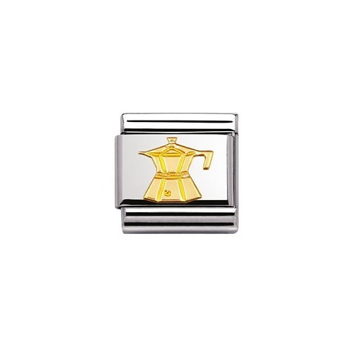 Nomination Gold Coffee Pot Charm Link - 030109/06