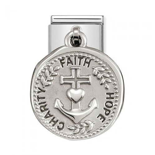 Nomination Silvershine Faith Hope Charity Dangle Charm Link - 331804/18