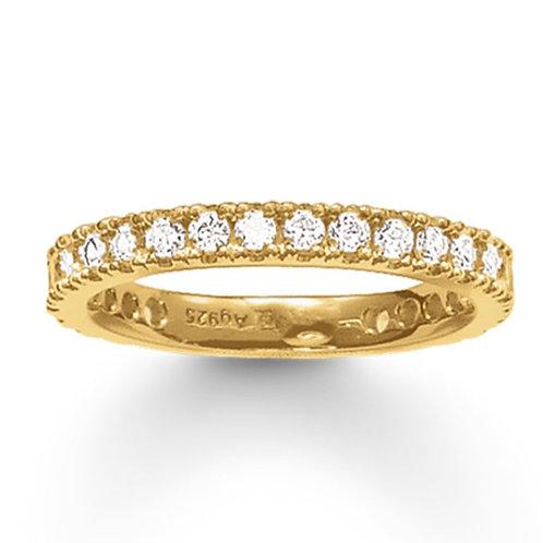 Thomas Sabo Silver CZ Eternity Yellow Gold Ring - TR1981-414-14