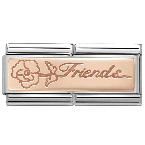 Nomination Rose Gold Friends Double Plates Charm Link - 430710/16