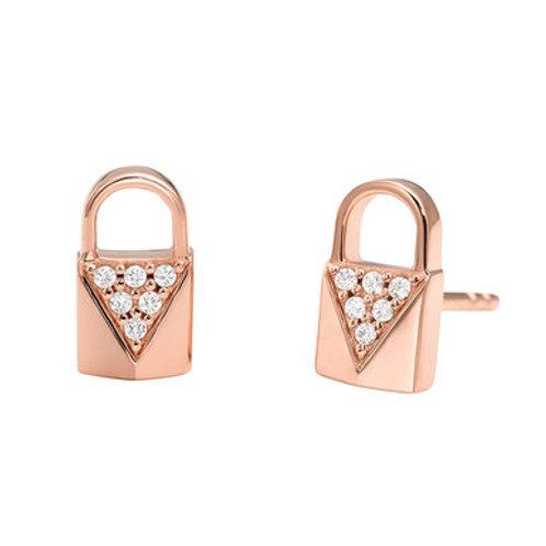 Michael Kors Sterling Silver Rose Gold Mercer Link Padlock Earrings