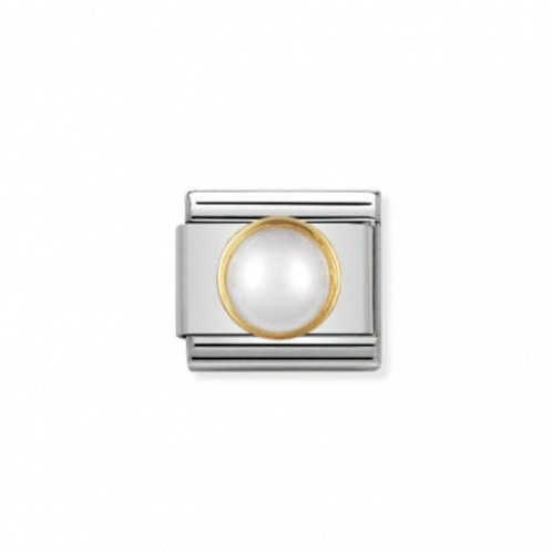 Nomination Gold White Pearl Round Charm Link - 030503/13