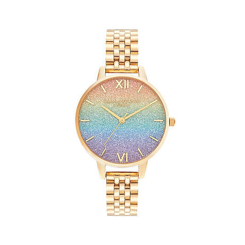 Olivia Burton Rainbow Glitter Dial and Gold Bracelet Watch - OB16RB23