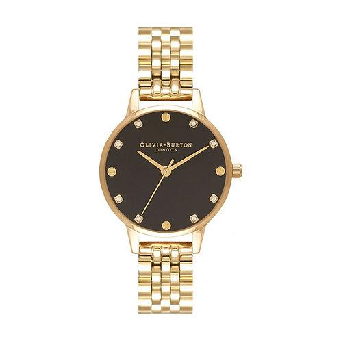 Olivia Burton Black Sunray Dial Gold Stainless Steel Strap Watch - OB16SE17