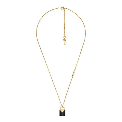 Michael Kors Colour Yellow Gold Black Onyz Padlock Pendant Charm Necklace