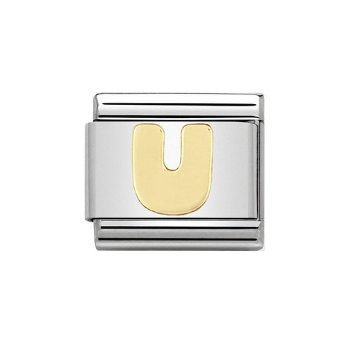 Nomination Gold Initial U Charm Link -030101/21