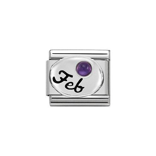 Nomination Silvershine February Birthstone Charm Link - 330505/02