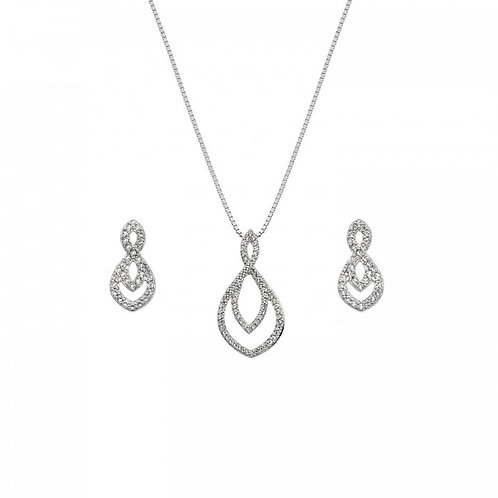 Hot Diamonds Sterling Silver Harmony White Topaz Necklace and Earrings Set