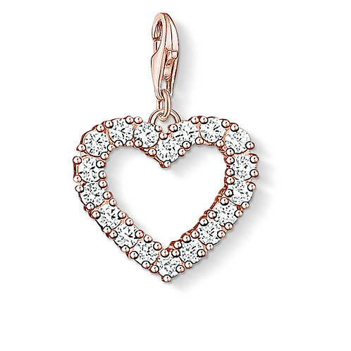 Thomas Sabo Silver Rose Gold Heart CZ Charm - 1574-416-14