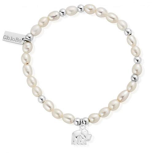 ChloBo Sterling Silver Elephant Freshwater Pearl Bracelet - SBPMIN405