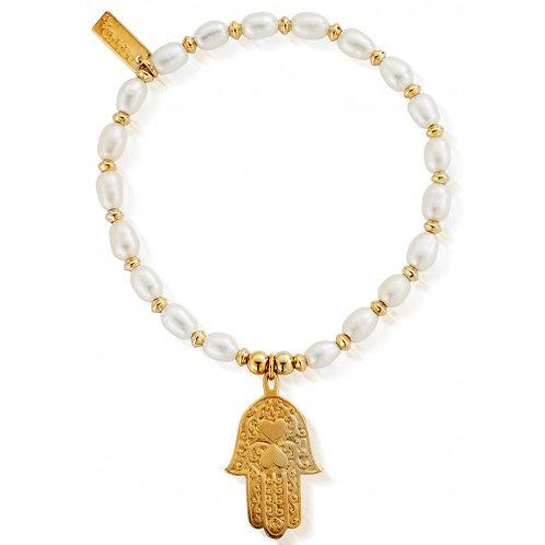 ChloBo Silver Medium Pearl Gold Hamsa Hand Bracelet - GBPSMA620