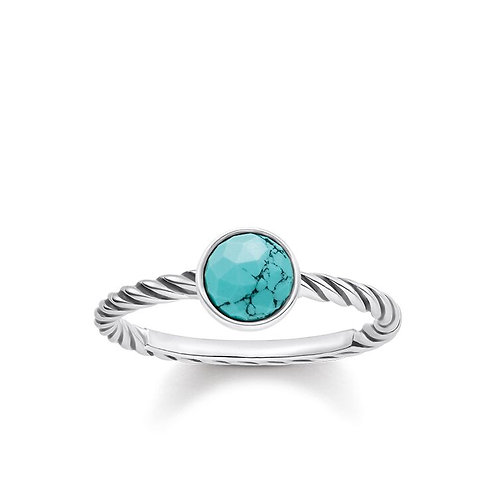 Thomas Sabo Silver Turquoise Faceted Ring - TR2130-878-17