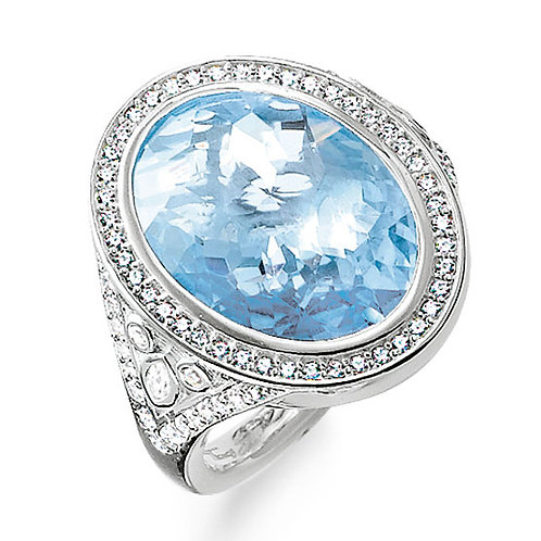 Thomas Sabo Sterling Silver Eternity of Love Blue Cocktail Ring - TR2022-059-1