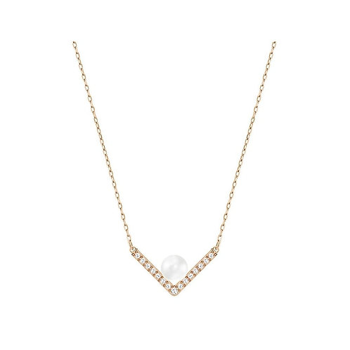 SWAROVSKI Rose Gold Tone Small Edify Pearl Necklace - 518647