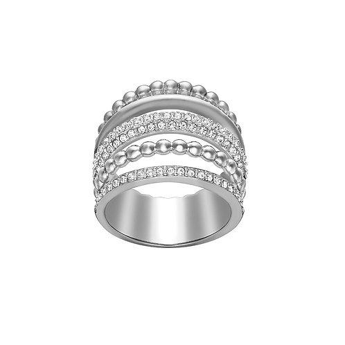 SWAROVSKI Click Rhodium Tone Clear Crystal Ring - 5123875