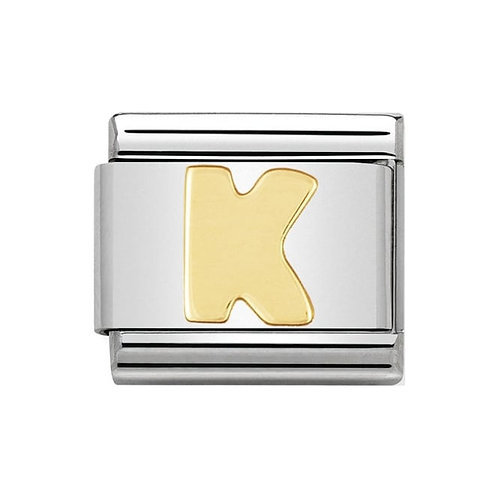 Nomination Gold Initial K Charm Link -030101/11