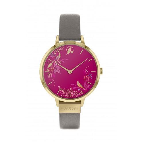 SARA MILLER - Pink Birds Gold Leather Strap Watch - SA2016