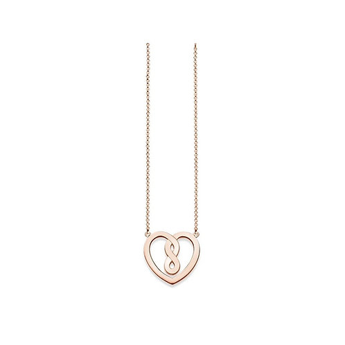 Thomas Sabo Sterling Silver Infinity Heart Rose Gold Tone Necklace - KE1496-415-