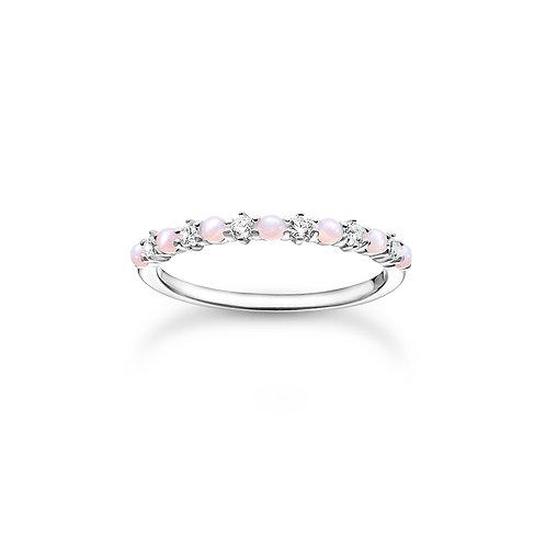 Thomas Sabo Imitation Pink Opal Silver Ring - TR2343-166-7