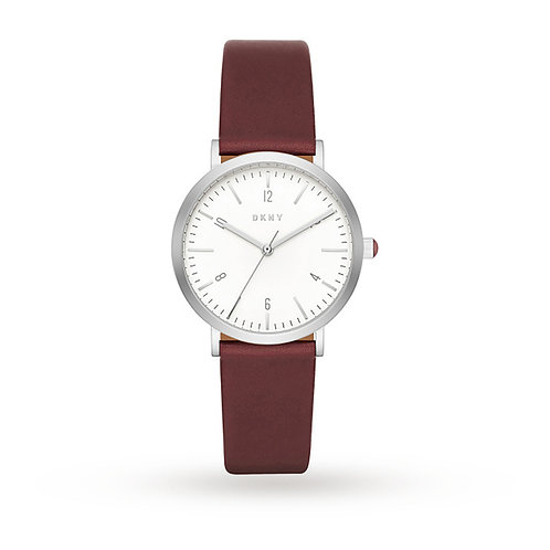 DKNY Ladies Minetta Red/Brown Leather Strap Watch - NY2508