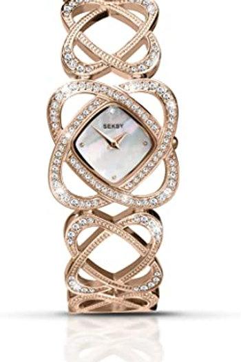 Sekonda Seksy Ladies Rose Gold Tone Crystal Hearts Watch - 4229