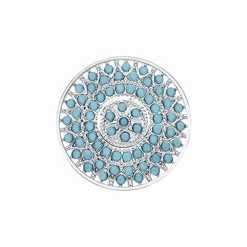 EMOZIONI by HOT DIAMONDS - Courage Turquoise Blue coin - EC381