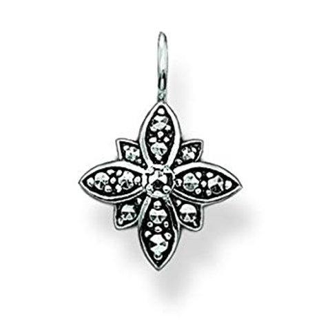 Thomas Sabo Silver Marcasite Flower Pendant - PE527-020-11