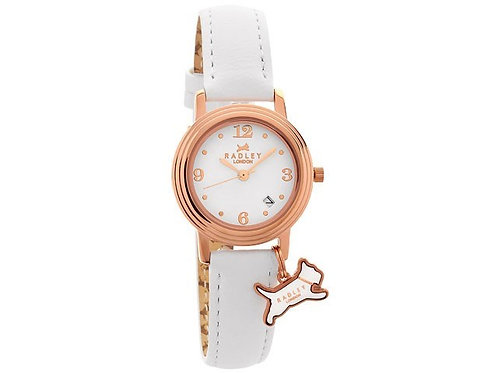 RADLEY Ladies Rose Gold Darlington White Leather Strap Watch - RY2006