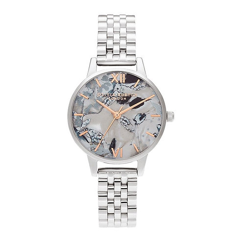 Olivia Burton Abstract Floral Stainless Steel Strap Watch - OB16VM38