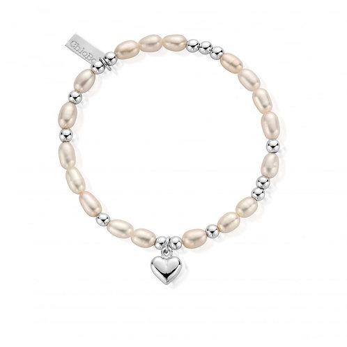 ChloBo Pearl Puffed Heart Mini Bracelet