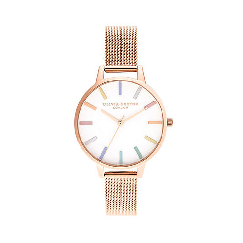 Olivia Burton Rainbow Rose Gold Mesh Watch - OB16RB24