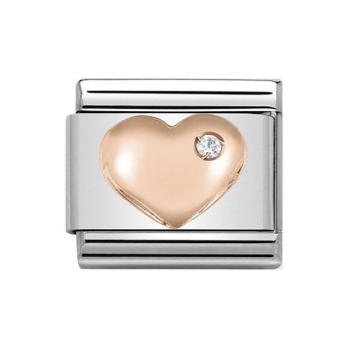 Nomination Rose Gold Heart with Cubic Zirconia Charm Link  - 430305/01