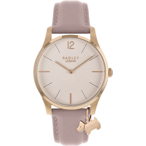 RADLEY Ladies Rose Gold Pink Leather Strap Watch - RY2710
