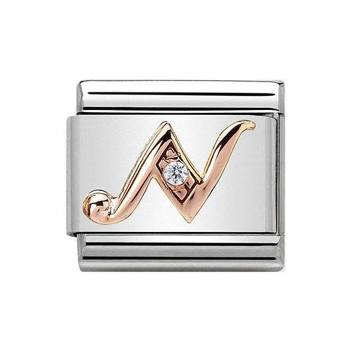 Nomination Rose Gold N Letter Charm Link  - 430310/14