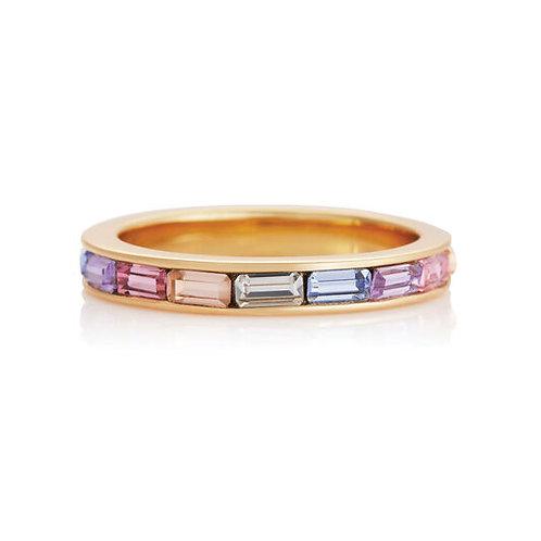 Olivia Burton Rose Gold Rainbow Baguette Ring MEDIUM - OBJRBR02B