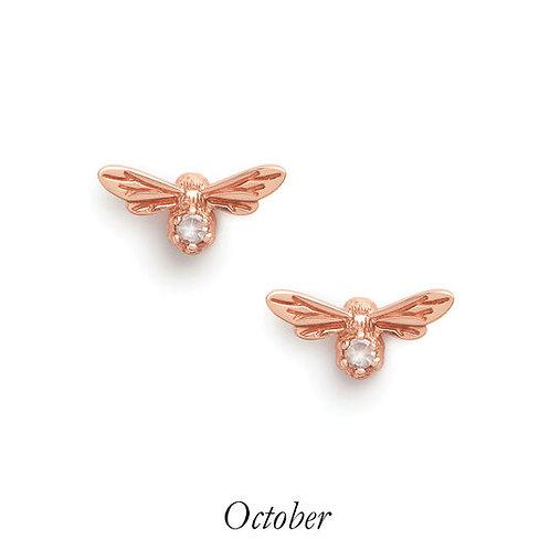 Olivia Burton Lucky Bee Rose Gold Rose Quartz Stud Earrings OCTOBER - OBJAME26N