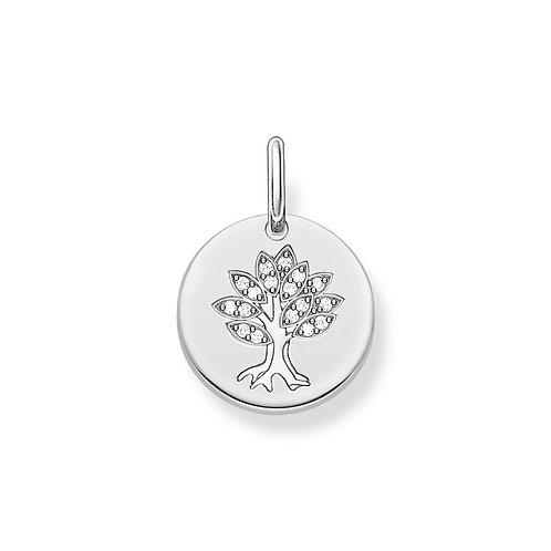 Thomas Sabo Silver CZ Tree of Love Love Coin Pendant - LBPE0008-051-14