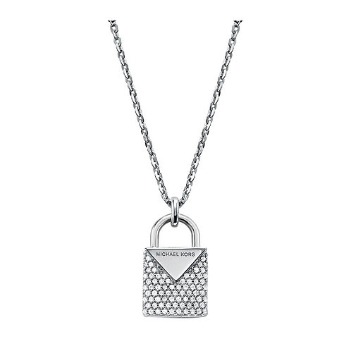 Michael Kors Sterling Silver Padlock Pendant Charm Necklace