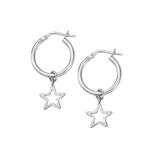 ChloBo Sterling Silver Open Star Hoop Dangle Earrings - SEH097