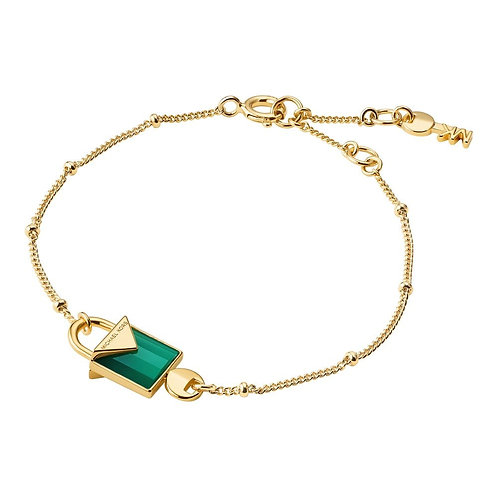 Michael Kors Colour Yellow Gold Green Agate Padlock Pendant Charm Bracelet
