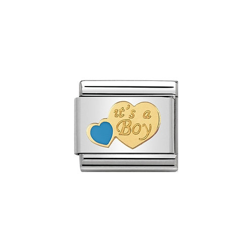 Nomination Gold It's a Boy Heart Charm Link - 030242/40